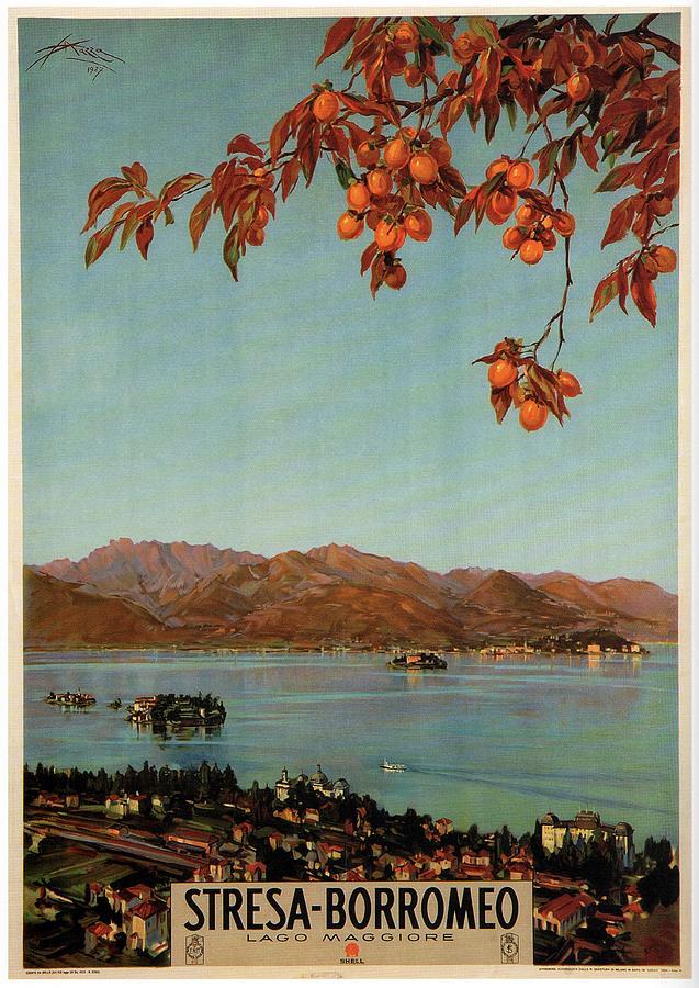 Stresa Borromeo - Maggiore Lake, Italy - Retro Travel Poster - Vintage Poster Mixed Media