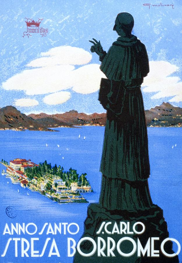 Stresa Borromeo - Monument Looking Down On The Town - Retro Travel Poster - Vintage Poster Mixed Media