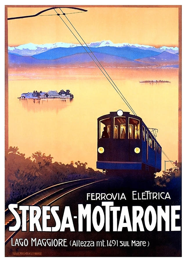 Stresa Painting - Stresa - Mottarone, Cable Car, Italy by Long Shot