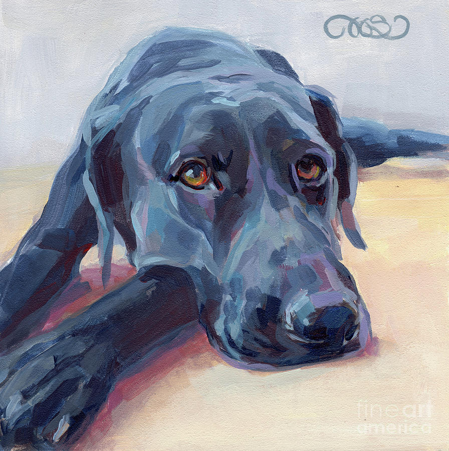 Black Lab Painting - Stretched by Kimberly Santini