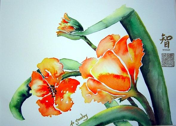 Floral Painting - Stretching In The Spring Sun by Joanne Smoley