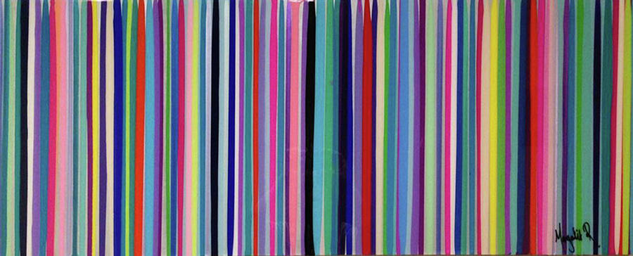 Stripes Painting - Striation Teals by Margalit Romano