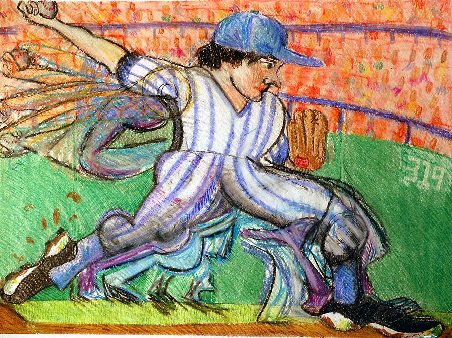 Baseball Drawing - Stride by Jame Hayes