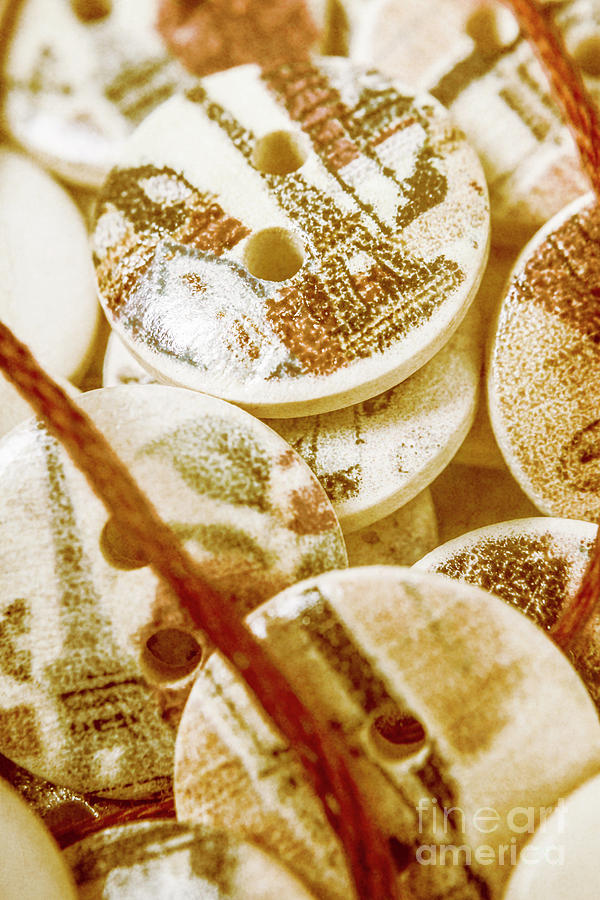 Sewing Photograph - String Of Buttons by Jorgo Photography - Wall Art Gallery