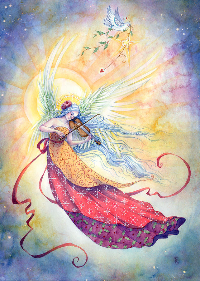 Angel Painting - Strings Of Worship by Sara Burrier