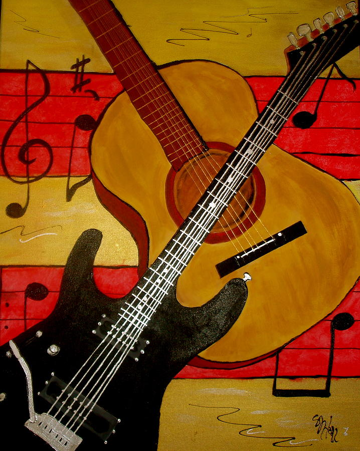 Guitars Painting - Strings by Sheila J Hall