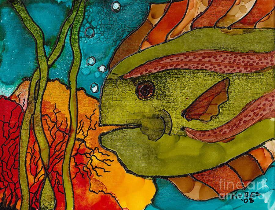 Fish Painting - Striped Fish by Susan Kubes