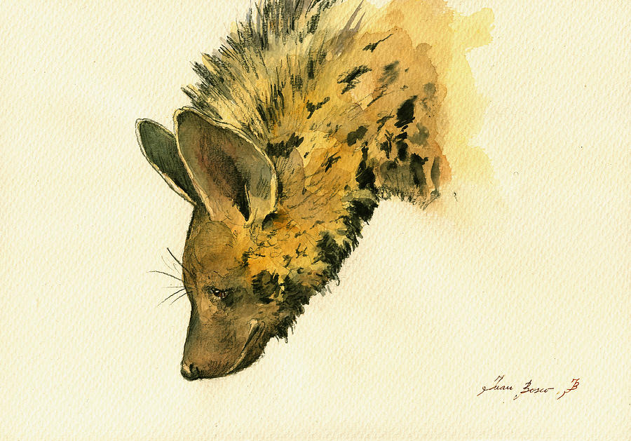 Hyena Animal Painting - Striped Hyena Animal Art by Juan  Bosco