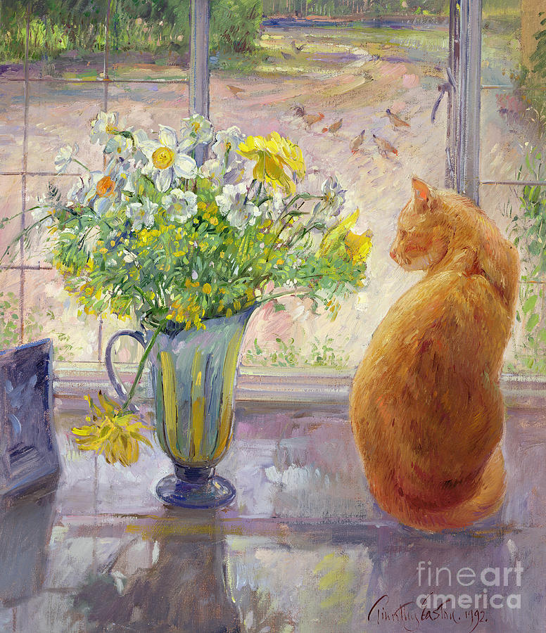 Cat Painting - Striped Jug with Spring Flowers by Timothy Easton