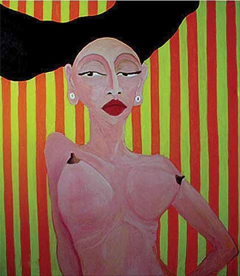 Figure Painting - Striped by Romana Hrncirova