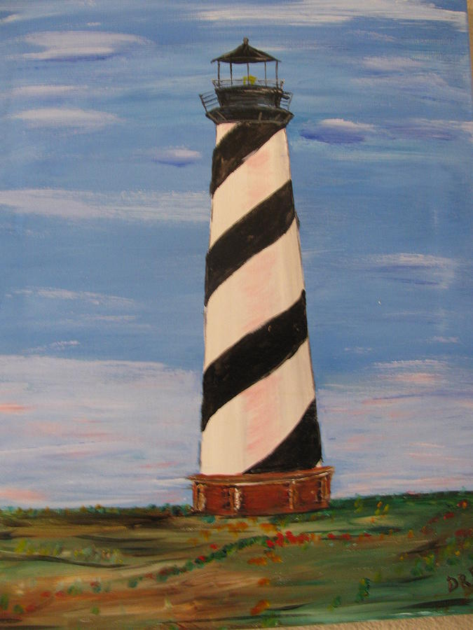 Lighthouse Painting - Striped Sentinal by Dennis Poyant