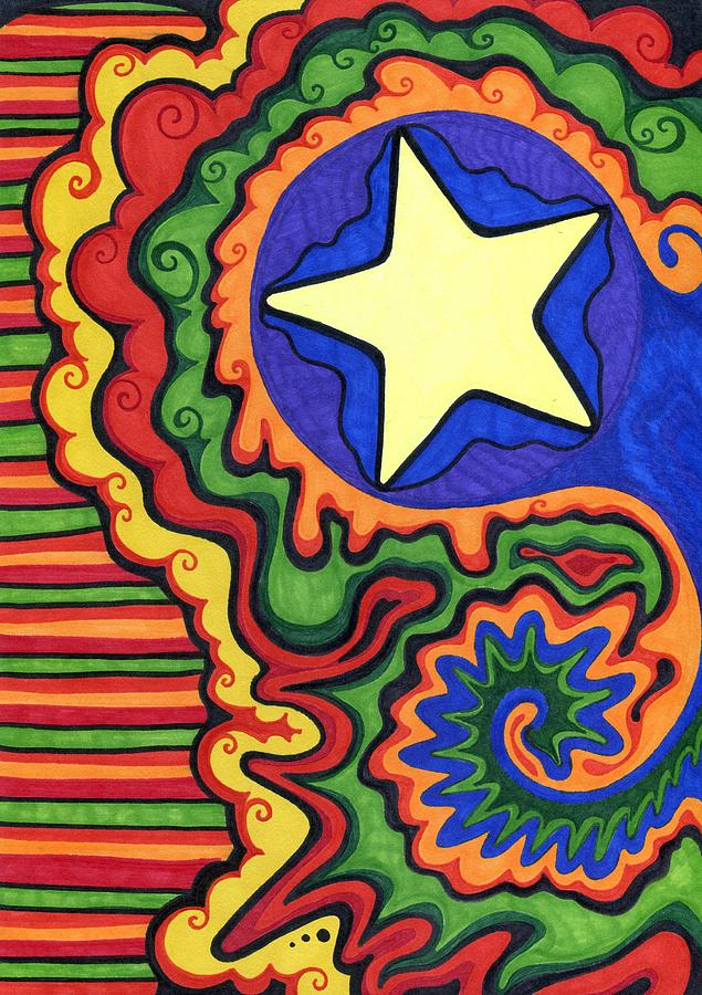 Star Mixed Media - Stripes And Star by Mandy Shupp