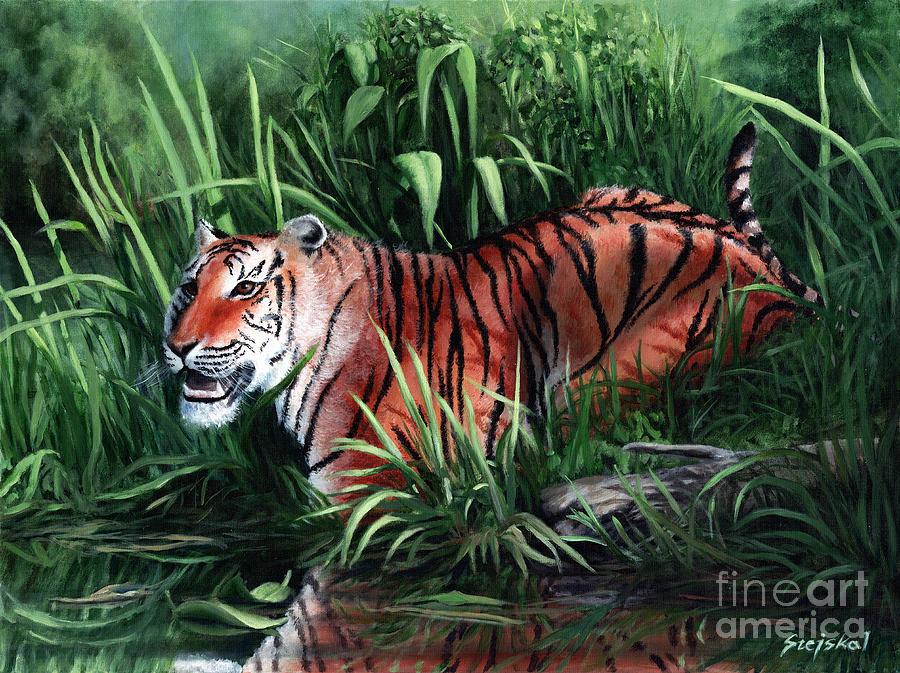 Tiger Painting - Stripes by Bretislav Stejskal
