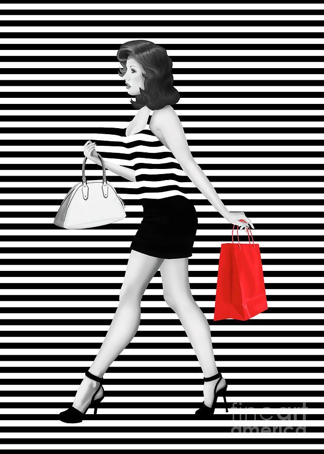Stripe Digital Art - Stripes in fashion by Monika Juengling