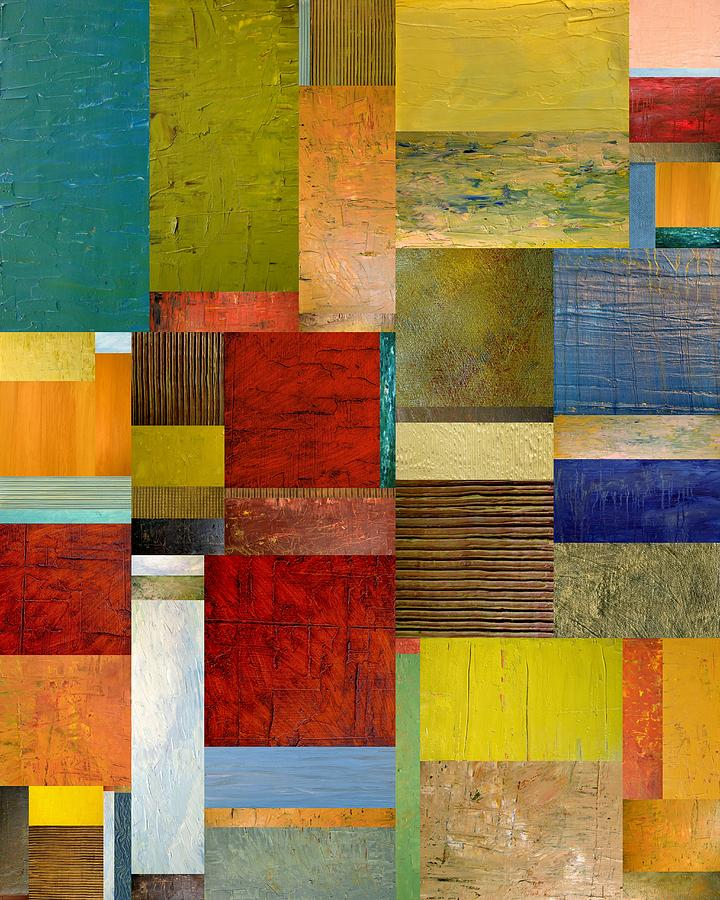 Textural Painting - Strips And Pieces L by Michelle Calkins