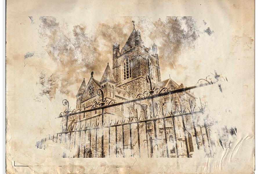Patrick Digital Art - Stroked S.patrick Cathedral by Andrea Barbieri