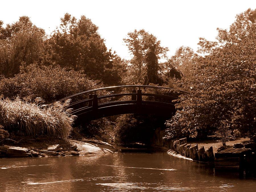 Sepia Photograph - Stroll Garden Bridge by Audrey Venute