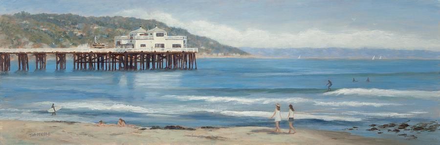 Malibu Pier Painting - Strolling At The Malibu Pier by Tina Obrien