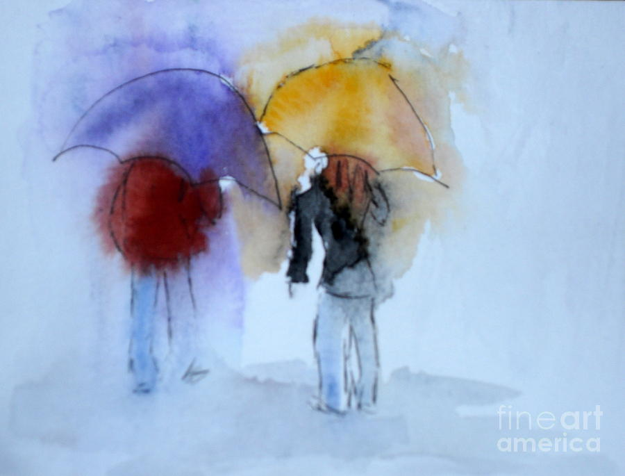 Strolling Painting - Strolling In The Rain by Vicki  Housel