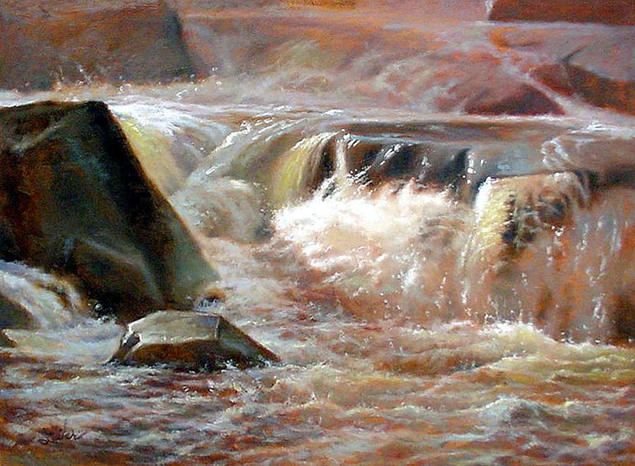 Waterfall Painting - Strong Falls- Peshtigo River by Larry Seiler