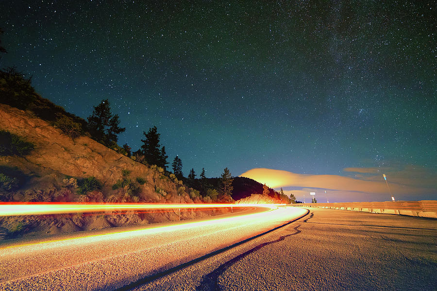 Strong Summer Light Trails On Nv State Route 207 Under The North End Of The Milky Way Photograph