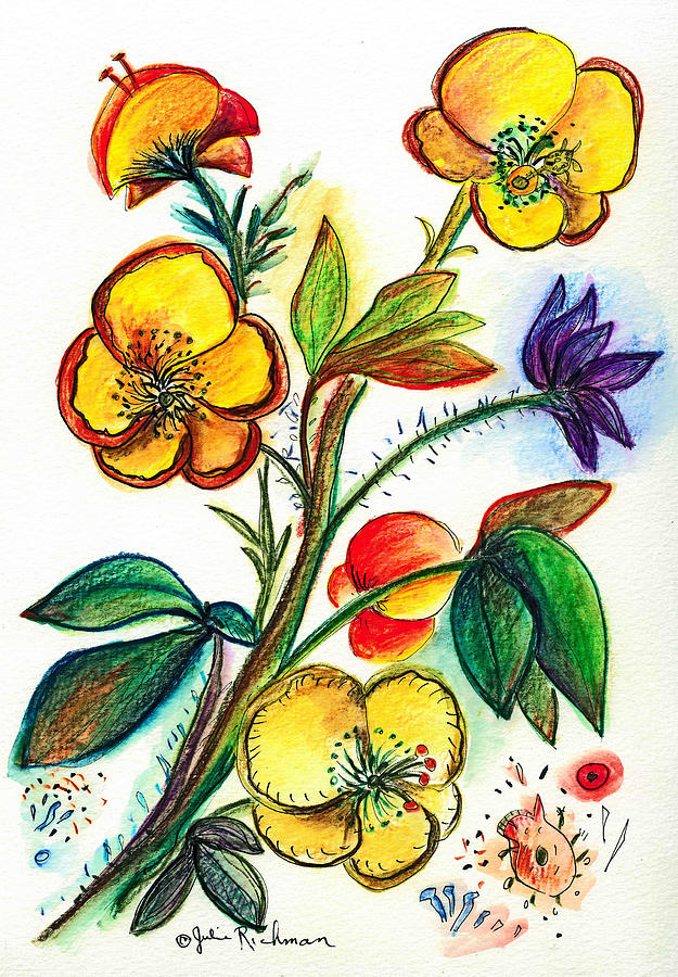 Nature Painting - Strong Yellow Flowers by Julie Richman