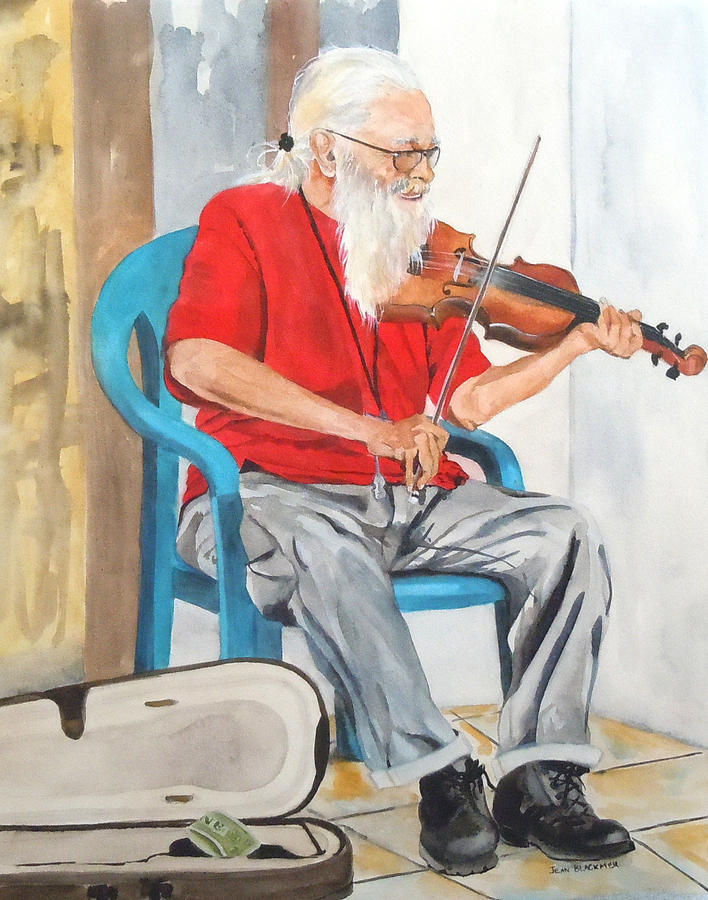 Violin Painting - Strummin Up Business by Jean Blackmer