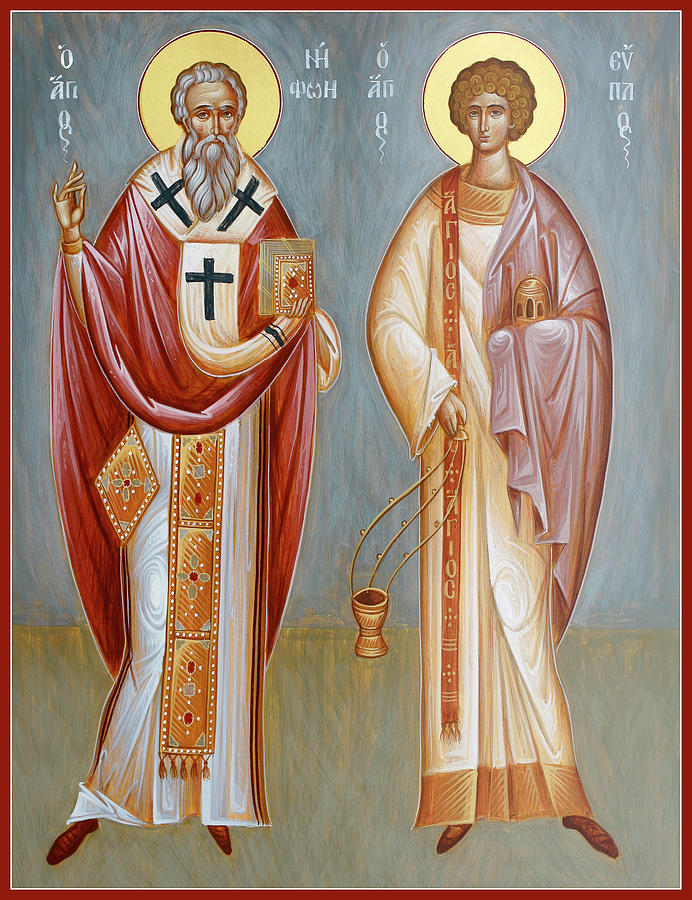 Icon Painting - Sts Niphon And Evplos by Julia Bridget Hayes