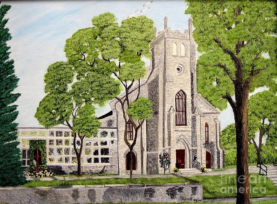 St.Thomas Anglican Church Belleville Circa1821 Painting by Peggy Holcroft