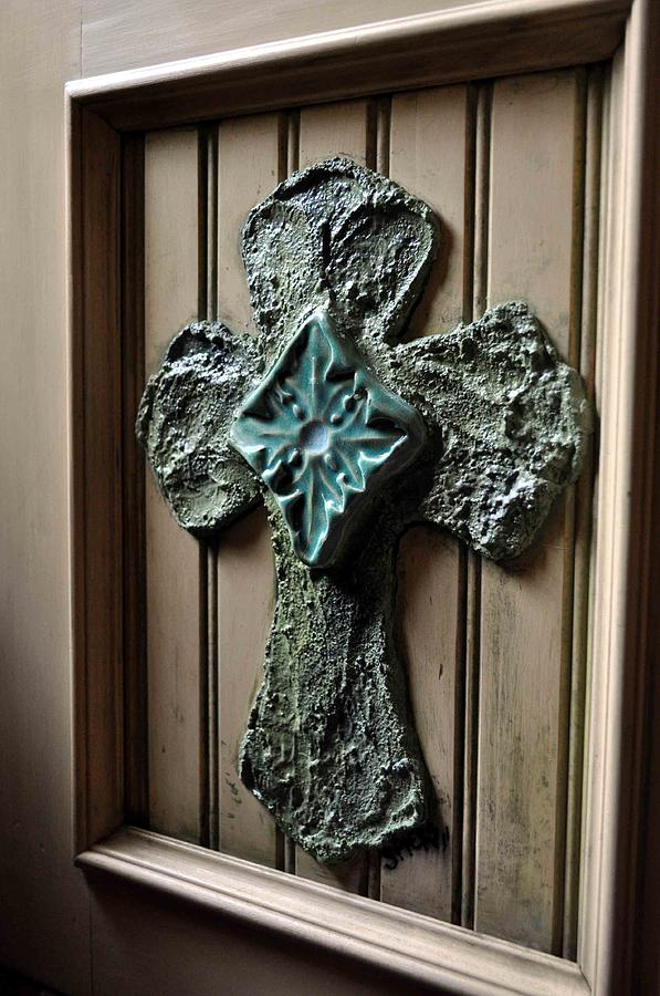 Cross Sculpture - Stucco Cross On Cabinet Front by Amanda  Sanford