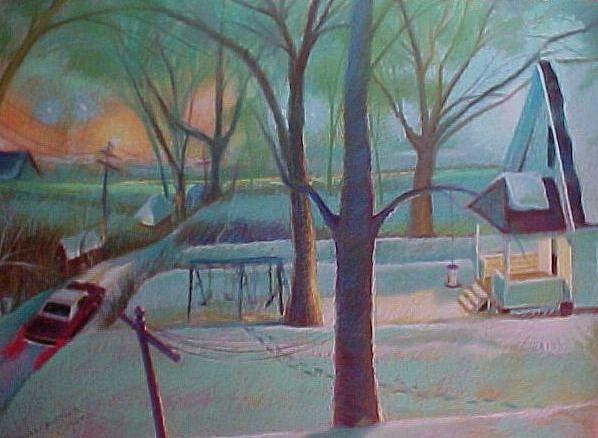 Pastel Painting - Stuck In The Snow In The Alley by Bobbi Baltzer-Jacobo