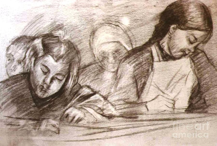 Students Of The Old Time Drawing by George Siaba