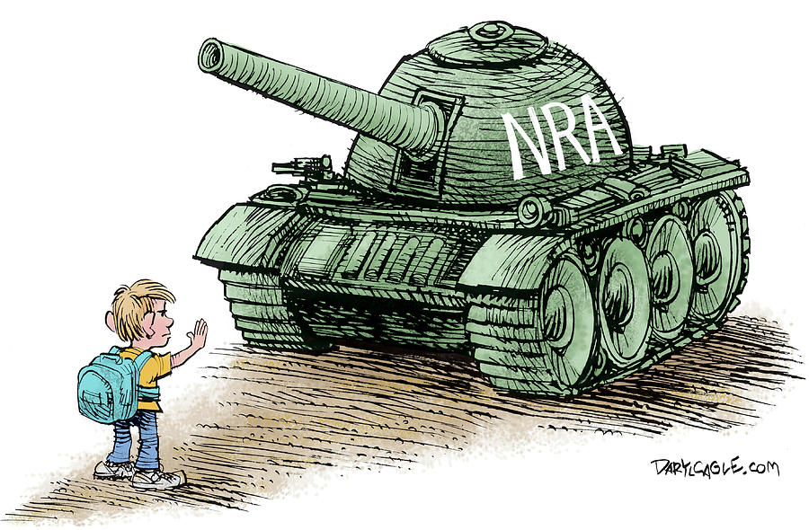 Nra Drawing - Students Vs The Nra by Daryl Cagle