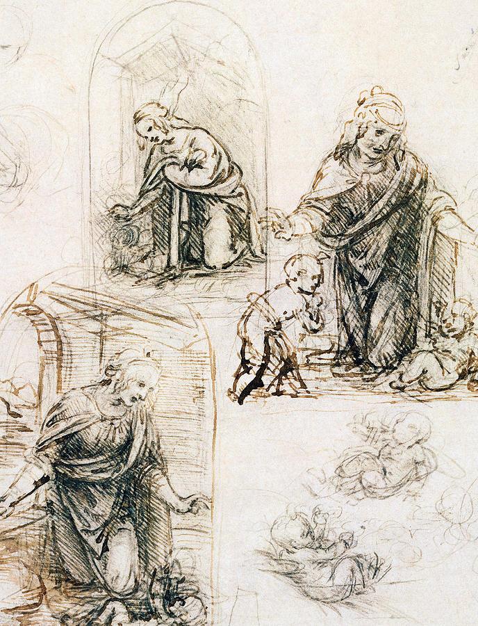 Studies For Nativity Drawing by Leonardo Da Vinci