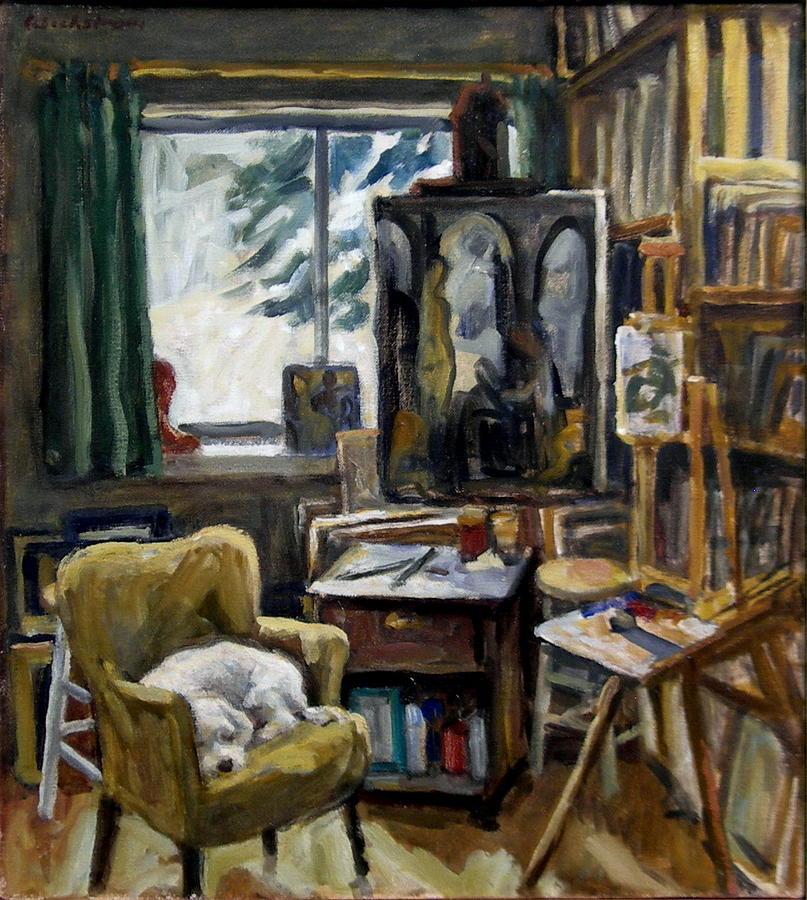 Studio Painting - Studio Dog by Thor Wickstrom