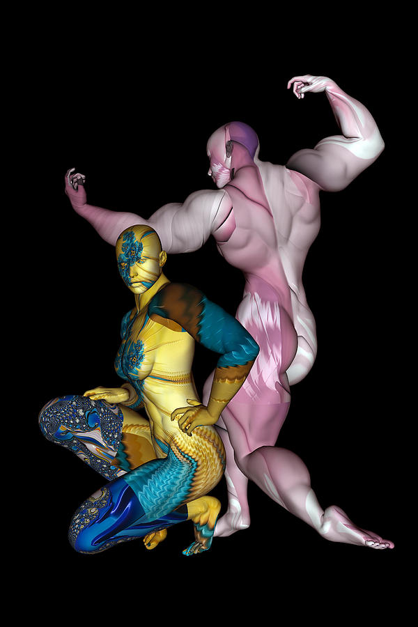 Strong Digital Art - Male and Female Models Posing 08 by Carlos Diaz