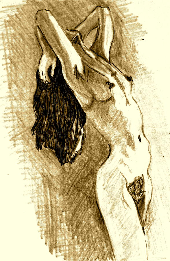 Young Woman Painting - Studio Sketch by Dan Earle