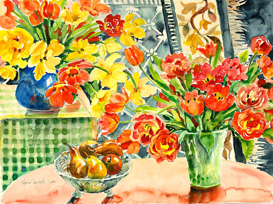 Watercolor Painting - Studio Still Life by Ingrid Dohm