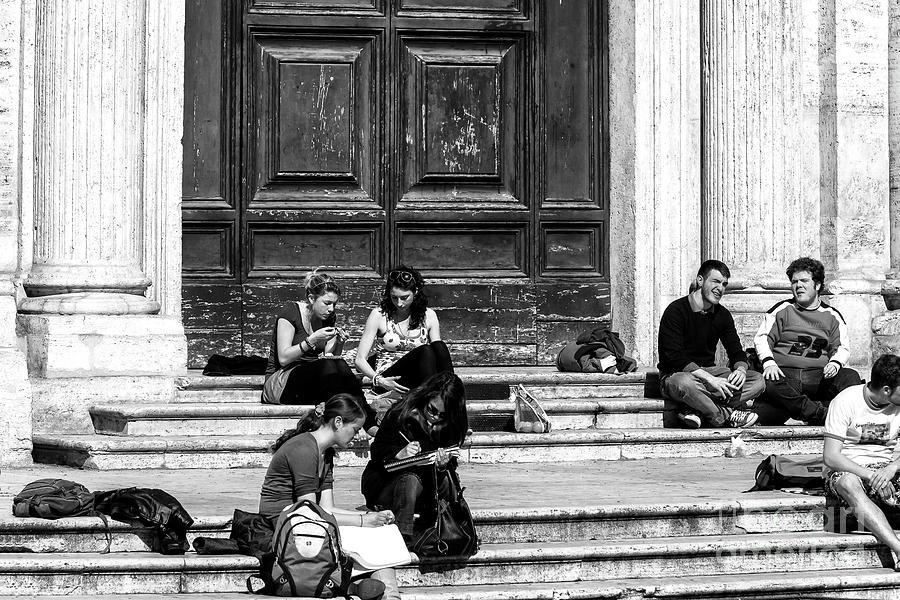 Street Scene Photograph - Study Break In Rome by John Rizzuto
