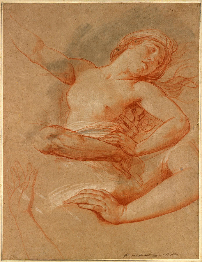 Greek Mythology Drawing - Study For Boreas Abducting Oreithyia by Francois-Andre Vincent