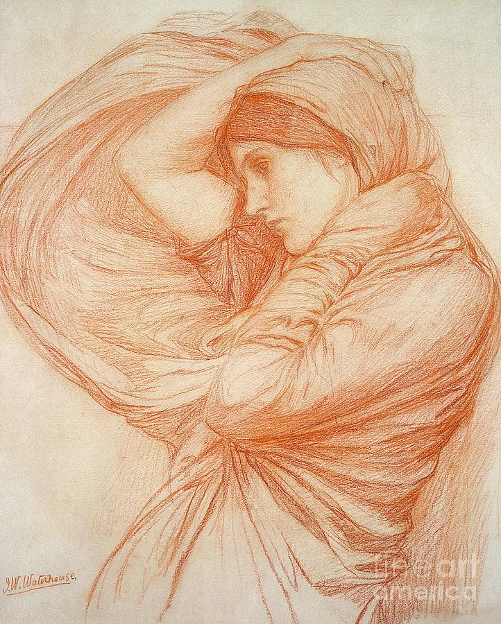 Study Drawing - Study For Boreas by John William Waterhouse