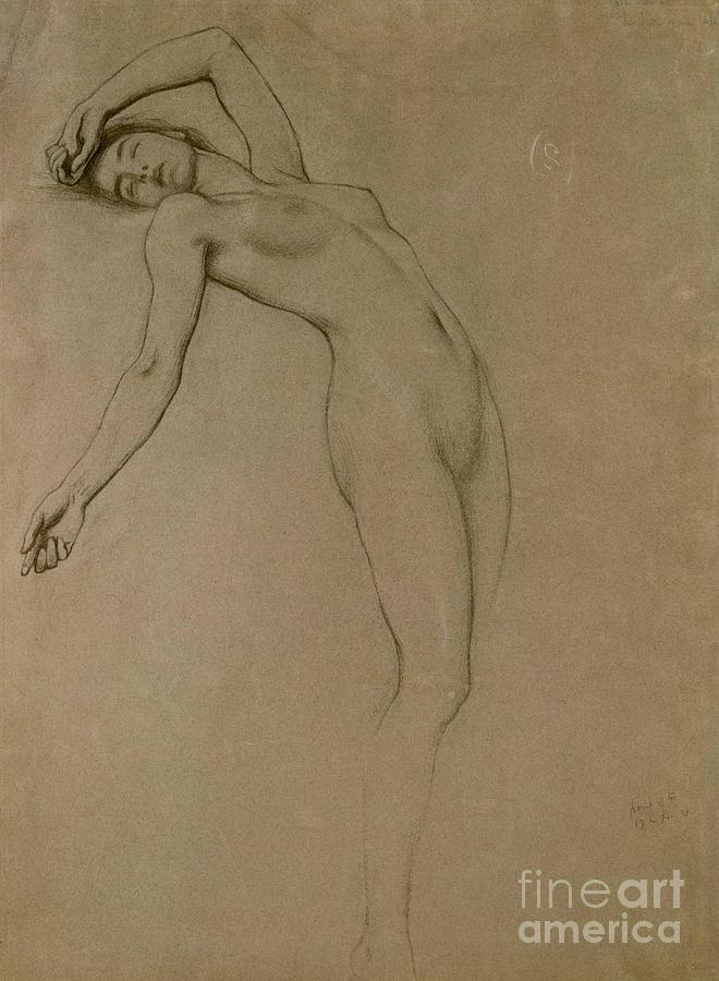Study Drawing - Study For Clyties Of The Mist by Herbert James Draper
