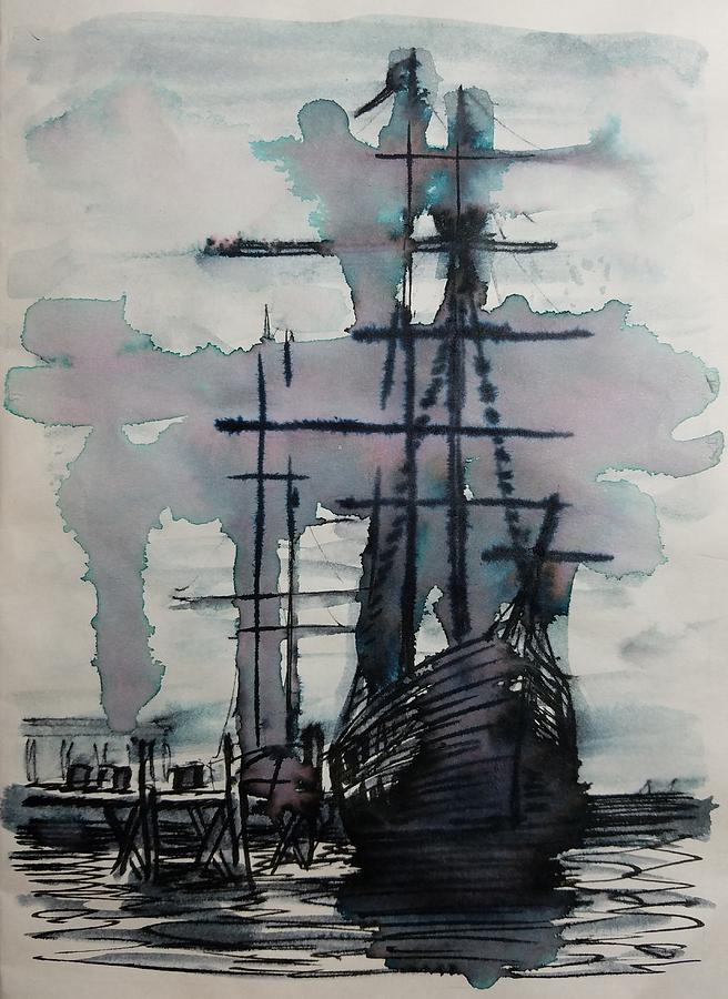 Study for Sailing Vessel Pandora by Vic Delnore