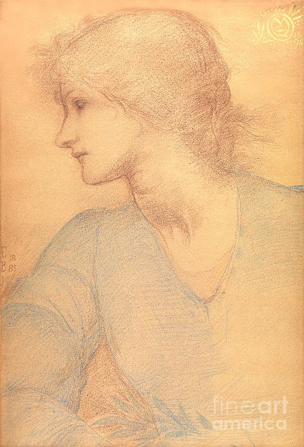 Study In Coloured Chalk Drawing - Study In Colored Chalk by Sir Edward Burne-Jones