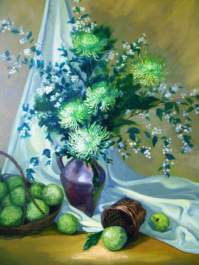 Study In Green Painting by Nancy Paris Pruden