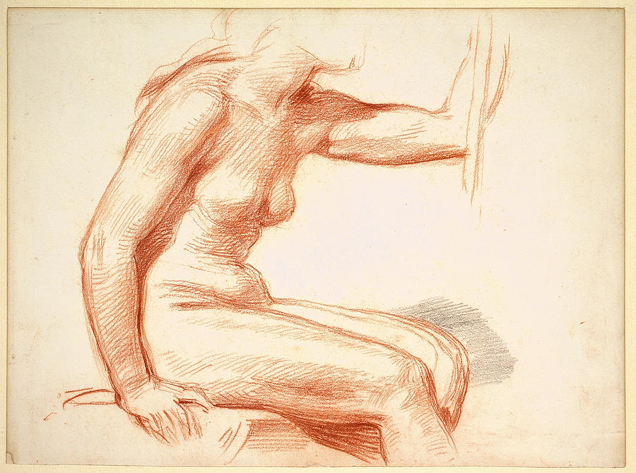 George Richmond Drawing - Study Of A Female Nude Seated by George Richmond