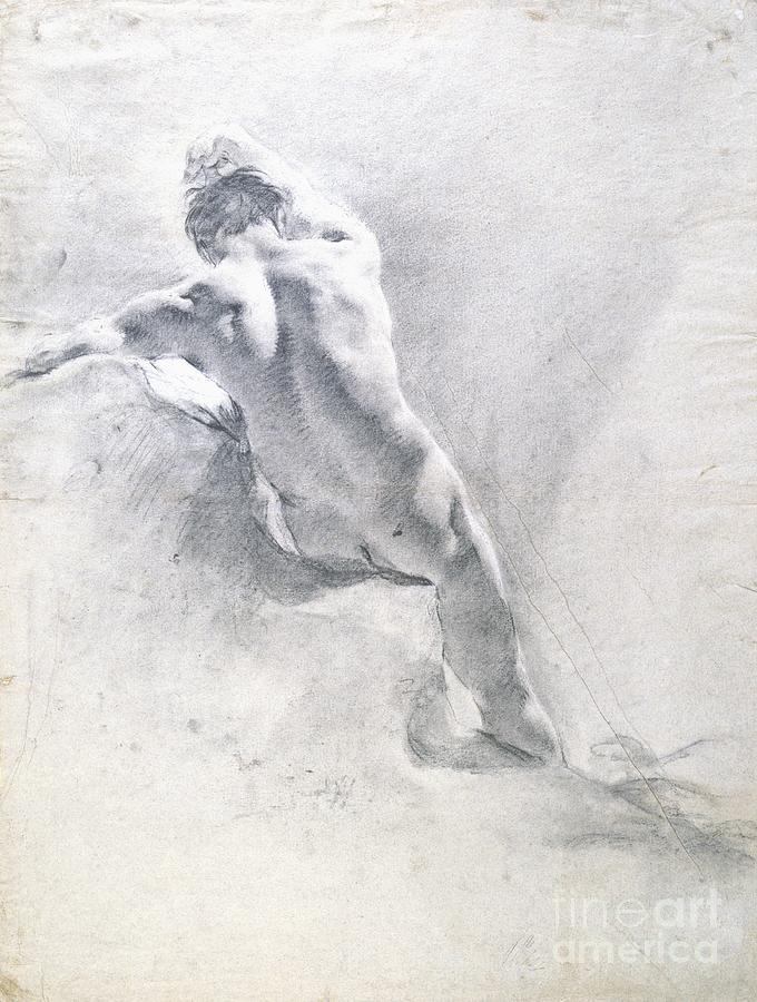 Study Drawing - Study Of A Male Nude by  Giambattista Piazzetta