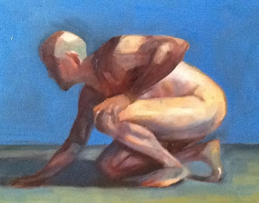 Study Of A Man Painting by Cynthia Mozingo