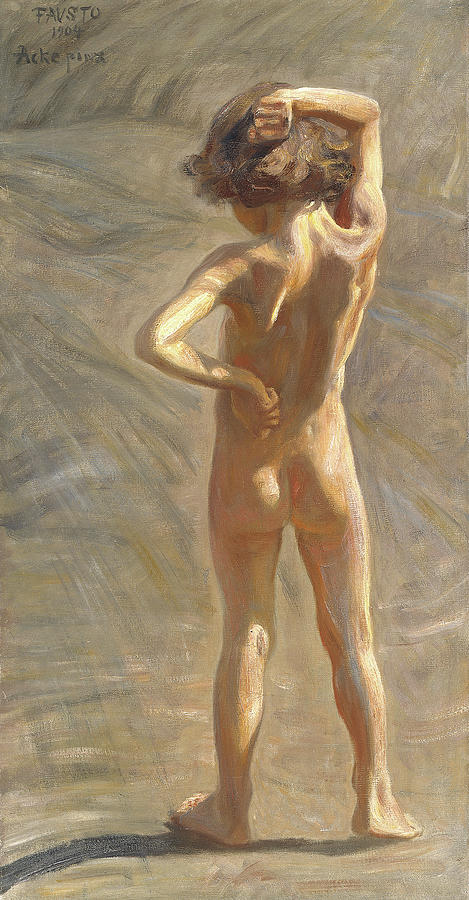Sunlight Painting - Study Of A Nude Boy by Johan Axel Gustaf Andersson