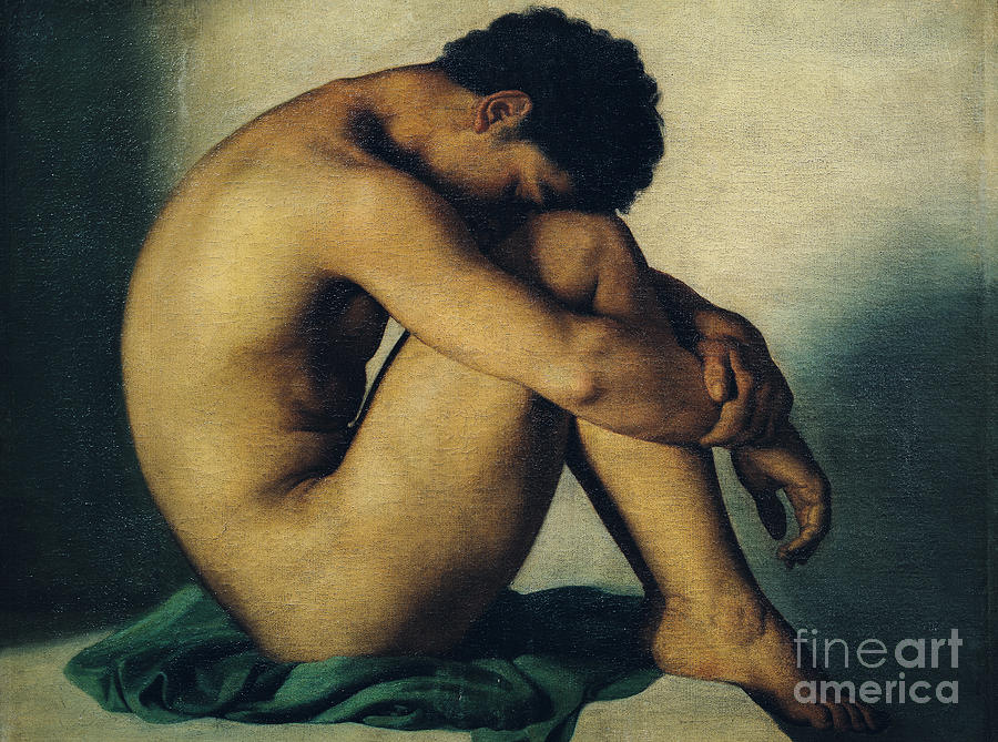 Study Painting - Study Of A Nude Young Man by Hippolyte Flandrin